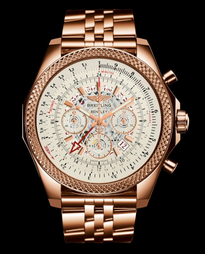 Breitling Bentley B04 GMT Silver Dial Red Gold Bracelet Watch_