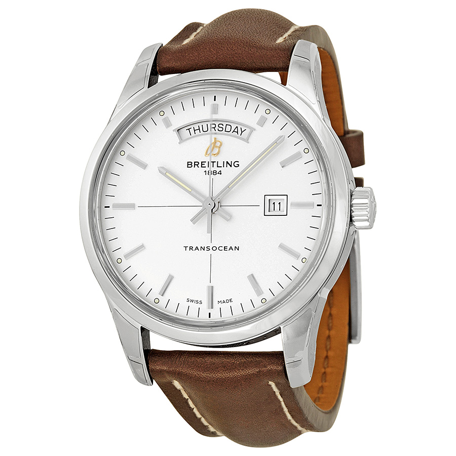 Breitling Transocean Day & Date Steel Case Brown Leather