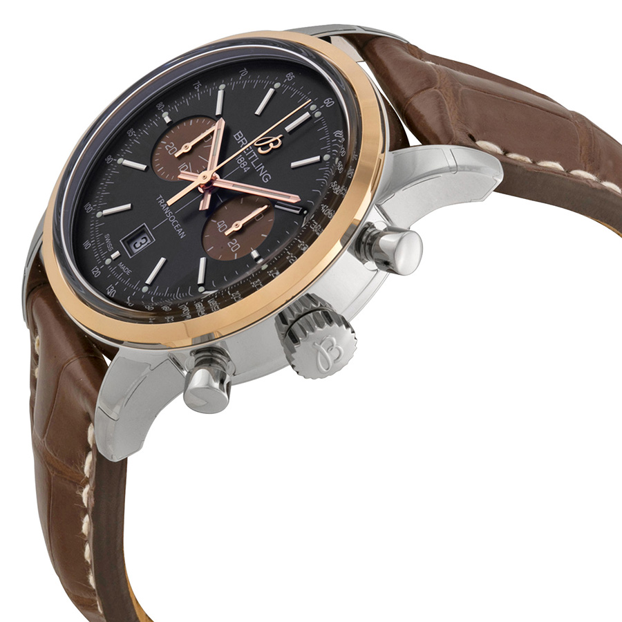 Breitling Transocean Chronograph 38 Black Dial Brown Leather -