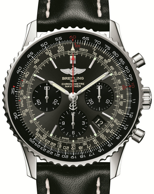 Popular Steel Breitling Navitimer Navitimer 01 Limited Replica Watches With Black Leather Straps