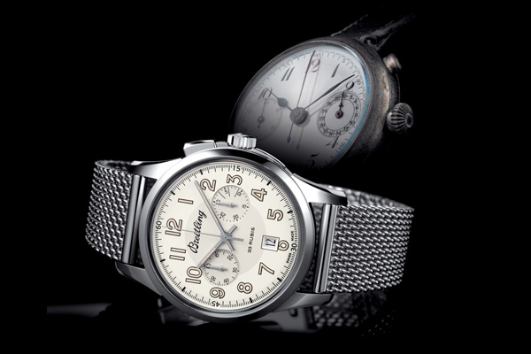 white dial copy Breitling Transocean Chronograph 1915
