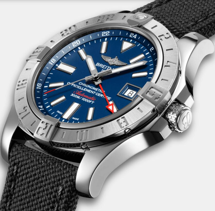 Best-selling imitation watches are distinctive with blue dials and red GMT hands.