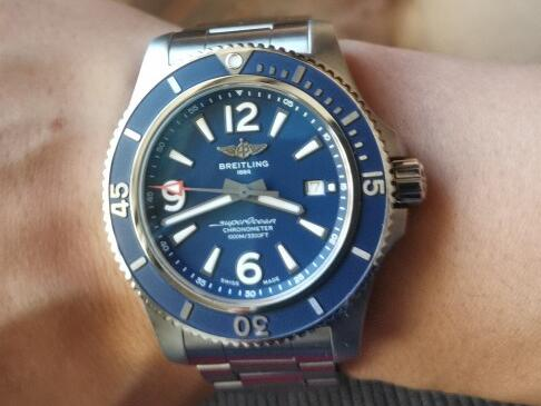 The Arabic numerals hour markers are striking on the blue dial.