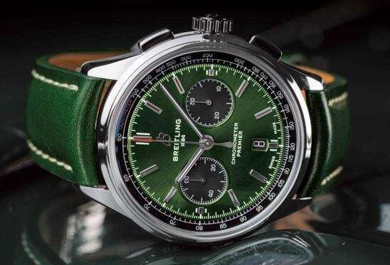 Breitling Premier copy in green looks very fresh.